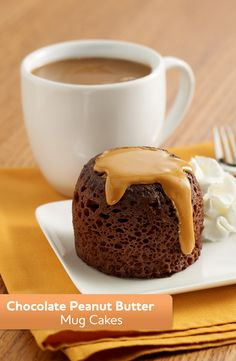 Make this Chocolate Peanut Butter Mug Cake in the microwave for an easy dessert tonight.