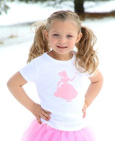 Royal Princess Nostalgic Graphic Tee in Short Sleeves - White with Pink...this goes with almost every twirly skirt or pair of shorts in a little girl's closet, $20