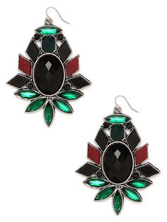 Noir Regina Drops  $28  These stunning earrings are delightfully wicked—in the most wonderful and wondrous way. And with those massive faceted gems, in onyx and absinthe hues, they're gloriously audacious, too.