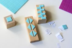DIY geometric foam stamps. Tutorial from The Plumed Nest.