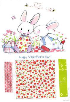 Bunny kisses !!! Le lapin dans la lune - Happy Valentine'sday!