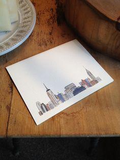 Watercolor Vintage New York City Skyline Card. $3.25, via Etsy.