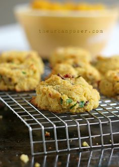 Pumpkin, Bacon & Chive Coconut Flour Biscuits -- 1/2 cups coconut flour  3/4 teaspoon baking soda  A scant less then 1/2 teaspoon salt  1/2 cup coconut oil   1 tablespoon apple cider vinegar  1/2 cup plus 2 tablespoons roasted or canned pumpkin puree, room temp(or butternut squash)  3 large eggs* (best at  room temp or the coconut oil will solidify)  1/4 cup green onions chopped or thinly sliced  1/4 cup shallots or onion minced  3-4 strips of bacon