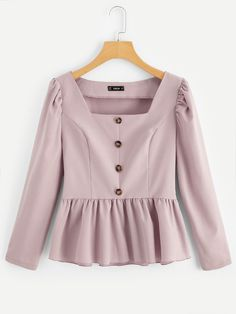Shop Square Neck Button Up Peplum Top online. SHEIN offers Square Neck Button Up Peplum Top & more to fit your fashionable needs. Pink Fashion, Hijab Fashion, Fashion News, Fashion Dresses, Girl Outfits, Casual Outfits, Cute Outfits, Blouse Styles, Blouse Designs