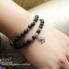 925 Silver Chrome Hearts Scout Flower Black Agate Bracelet Online