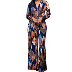 79804647279c Bodycon4U Women s Geometric Belted One Piece Wide Leg Sexy V Neck Party  Club Jumpsuit Romper Long