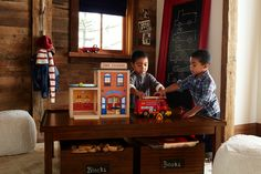Our wooden fire truck has a tall ladder that swivels to reach high places for daring rescues. This simple, well-built toy has lasting play value. Play Rooms, Play Spaces, Tall Ladder, Never Grow Old, Study Space, Birthday Diy, Girls Dream, Pottery Barn Kids, Fire Trucks