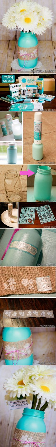 DIY Mothers Day Gift - Stenciled Mason Jar Vase