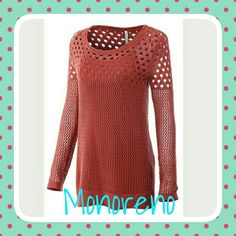 2 pc. Mesh Sweater & Cami Gorgeous Rust Orange Mesh Sweater with matching Cami! Perfect for Fall nights when its done being 90° out, but not yet -20°; just that comfortable in-between!  50% Linen, 30% Acrylic, 20% Cotton. Monoreno Sweaters