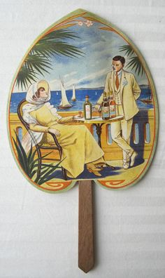 """Vintage French advertising fan / Le Rhum Augustin c.1900 Anonymous 7"""" x 6"""" A-,P; text on reverse"""