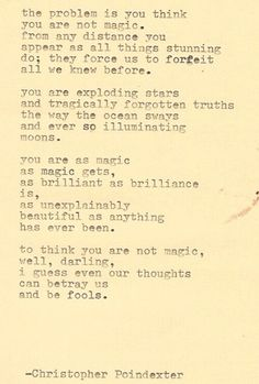 I would so get the fourth stanza as a tattoo!! Christopher Poindexter is genius.