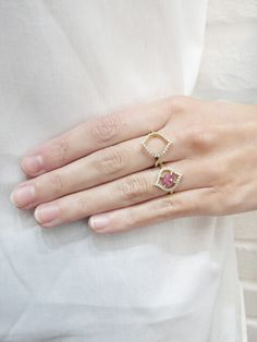 ARK Fine Jewelry - Small Nectar Pink Sapphire Ring    Handcrafted in 18-karat yellow gold.  Detailed in pink sapphire and diamonds.  Measures 5/8-in. tall.