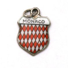 Monaco Coat of Arms Enamel Travel Shield Vintage 800 Silver Bracelet Charm by SterlingRevival on Etsy