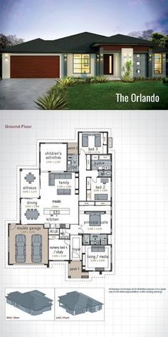 Single Storey House Design - The Orlando. Designed with the family in mind this modern floor plan will meet the needs of everyone in the family. 4 Wardrobes, 2 Bathrooms, Double Garage, Alfresco Dining Area, and 3 Living Areas. A gen Modern House Floor Plans, Dream House Plans, Small House Plans, Modern House Design, Single Storey House Plans, One Storey House, 4 Bedroom House Plans, French Country House Plans, House Blueprints
