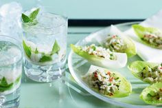 This seafood-style canape, spiced up with chilli and sprinkled with mint, fits easily into one hand leaving the other free for a cocktail.