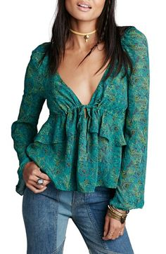 Free People 'Uptown' Bell Sleeve Blouse
