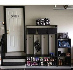 Home diy in 2019 garage lockers, mud room garage, garage storage. Garage Lockers, Garage Laundry Rooms, Garage Entryway, Mud Room Garage, Garage Floor Paint, Garage House, Garage Workbench, Car Garage, Garage Mudrooms