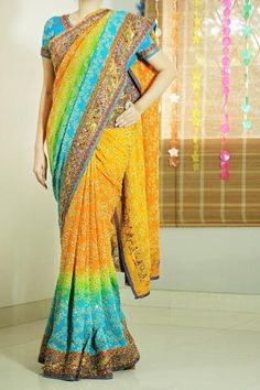 Blue And Yellow Shaded Georgette Saree with Embroidery