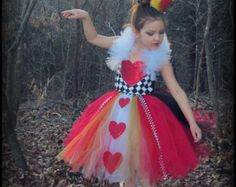Queen of Hearts Tutu Dress / Alice in Wonderland / Glitz Pageant Outfit of Choice OOC / Casual Wear / Girl Costume / Valentine / Cards
