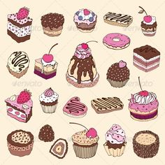 Set of Cakes  #GraphicRiver         Set of cute cake. Multicolored Vector illustration                     Created: 30 November 13                    Graphics Files Included:   JPG Image #Vector EPS                   Layered:   No                   Minimum Adobe CS Version:   CS             Tags      art #background #bakery #birthday #cake #candy #cartoon #celebrate #celebration #cherry #chocolate #collection #color #colorful #cream #cup #cupcake #cute #decoration #delicious #design #dessert…
