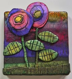 a Mused Studio: More Little Canvases Polymer Clay Creations, Polymer Clay Crafts, Polymer Clay Jewelry, Clay Art Projects, Ceramics Projects, Pottery Painting Designs, Kids Art Class, Diy Crafts To Do, Mosaic Art