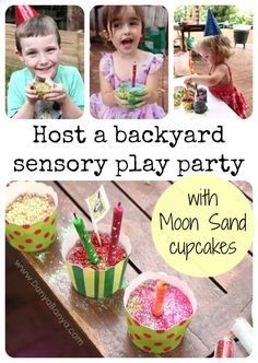 Get the kids to host a backyard sensory play party, and make their own Moon Sand cupcakes.