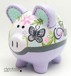 Mia in lavender and grey butterfly paisley personalized piggy bank — Alphadorable The Little Couple, Cute Little Things, Personalized Piggy Bank, Nursery Art, Garden Nursery, Porcelain Ceramics, Baby Shower Gifts, Paisley, Piggy Banks