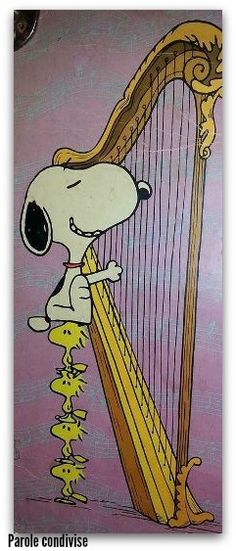 Snoopy and Woodstock master playing the Harp. Peanuts Gang, Charlie Brown And Snoopy, Snoopy Cartoon, Peanuts Cartoon, Snoopy Love, Snoopy And Woodstock, Woodstock Music, Peanuts Characters, Cartoon Characters