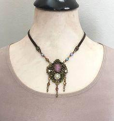 Unique Rhinestone Pendant Necklace  Vintage Meets Modern - Jryen Designs
