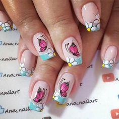 Unhas decoradas borboletas 2018 → fotos, passo a passo manicure постила. Butterfly Nail Designs, Butterfly Decorations, Cute Nail Designs, Nail Swag, Nail Effects, Flower Nails, Beautiful Nail Art, Toe Nails, Pretty Nails