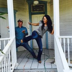 We karate chopped and kicked the vinyl railing on this late 1800s home to make room for new authentic awesomeness. #hiiiiiiiiiiiiyaaaaaaaaa! #chipchop @hgtv #fixerupper photo credit @matsumoto818