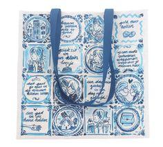 Deze shopper is geinspireerd op het oud-Hollandse Delfts blauwe servies