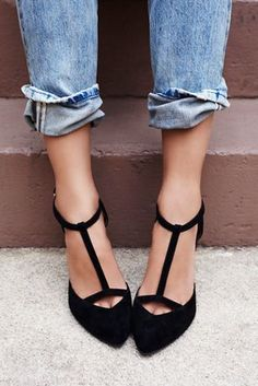 Pointy toed t-strap  heels on ShopStyle! Click to buy! Black Heels 34ab8c92cd