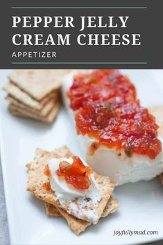 Quick appetizers are a must for parties and family get togethers! This Pepper Jelly Cream Cheese Appetizer is a huge holiday tradition because it's super easy to make and the whole family can enjoy it! It's simply a block of cream cheese with your choice of pepper jelly or fruit preserve on top, served with Back to Nature Pink Himalayan multi-grain crackers. The combination is a perfect blend of sweet, spicy and salty! Quick And Easy Appetizers, Holiday Appetizers, Easy Appetizer Recipes, Quick Meals, Top Recipes, Spicy Recipes, Party Recipes, Jelly Cream, Hot Pepper Jelly