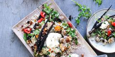 Filled with earthy veggies and an inkling of sweetness, this protein-rich quinoa salad is the perfect dish to impress your vegetarian friends. Spiced Quinoa Salad with Roasted Vegetables + Labna - I Quit Sugar