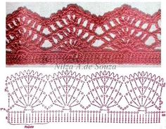 Crochet Edging Crochet lace edging by Nilza Souza. Crochet Boarders, Crochet Edging Patterns, Crochet Lace Edging, Crochet Motifs, Crochet Diagram, Crochet Chart, Crochet Trim, Filet Crochet, Knit Or Crochet