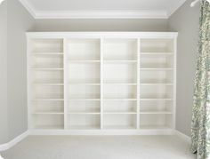 An entire built in bookcase for one wall in the living room. A must.