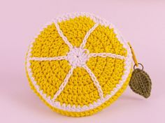 'Lemon Slice' crochet coin purse by Tom West of Teapot Magpie, available to order from the Teapot Magpie Etsy shop