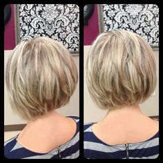 Amber Heater, Gorgeous Hair Salon, Salisbury MD (410)677-4675 Short inverted bob with multitonal highlights and lowlights, stacked, soft layers