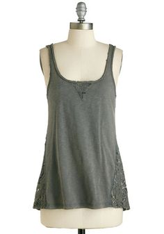 Right Hand Mandolin Top - Mid-length, Cotton, Knit, Lace, Grey, Crochet, Casual, Sleeveless, Scoop