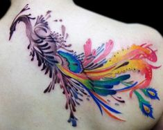 David Page phoenix tattoo. Love the water colour effect