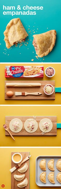 Need an easy after school snack to please the cheesebuds? Ham & Cheese Empanadas are a quick hit that are really fun to make. Cut pie crust into circles and spoon in a dose of mozzarella cheese in the center, adding a half of slice of ham. Moisten edges w Pork Recipes, Mexican Food Recipes, Cooking Recipes, Recipies, Cheese Empanadas Recipe, Comida Boricua, Plat Simple, Comida Latina, Ham And Cheese