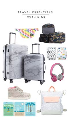 travel essentials with kids - love the marble suitcase! Travel Maps, Travel Packing, Travel Backpack, Video Games For Kids, Kids Videos, Videos Mexico, Bff, Travel Clothes Women, Travel With Kids