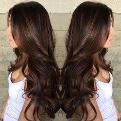 Thick and luscious chocolate brunette by SL Hair Design. Long brown hair Loose curls hotonbeauty.com
