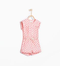 Polka dot jumpsuit with cord belt-Dresses-Baby girl (3 months - 3 years)-KIDS | ZARA United States