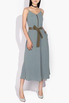 L'allee Đầm midi hai dây túi chéo xanh ghi | Ferosh | Thời trang thiết kế cao cấp