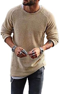 UP TO 47% OFF! Mens Knitting Shirt Solid Long-Sleeved O-Neck Regular Fit Casual T-shirt. SHOP NOW!