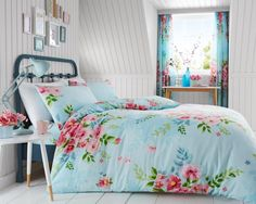 Gaveno Cavailia Floral Easy Care Turquoise Blue Alice Duvet Cover and Pillowcase Set Online Bedding Stores, Complete Bedding Set, Pink Bedding, Duvet, Bed, Duvet Cover Sets, Floral Duvet Cover, Duvet Covers, Geometric Duvet