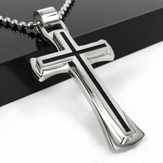 New Gift Unisex's Mens Black Silver Stainless Steel Cross Pendant Necklace Chain, http://www.amazon.com/dp/B0108TPST0/ref=cm_sw_r_pi_awdm_aI3Dwb199MV50