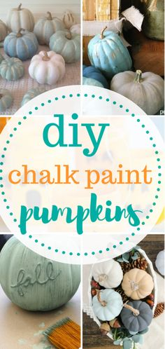 Learn how to make chalk paint pumpkins!   DIY Holiday, Holiday Home Decor, Chalk Paint Crafts, Chalk Paint Projects, DIY Chalk Paint, Fall DIY